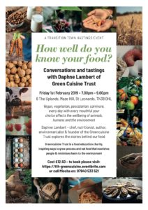 How well do you know your food? Conversations and tastings with Daphne Lambert @ 6, The Uplands  Maze Hill  St Leonards on Sea  TN38 0HL